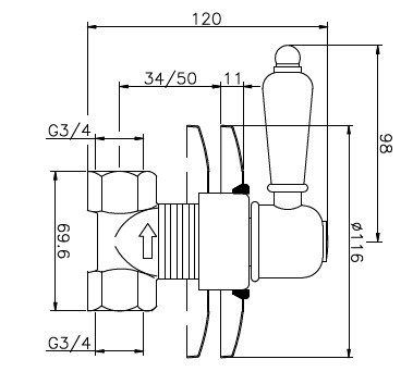 Huber Croisette Inbouw Stopkraan Chroom 160CS51HCR