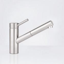 Kwc Inox keukenkraan uitloop 225 mm.en perlator uittrekbaar rvs 10271103700