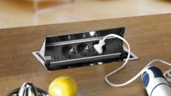 Bachmann Coni keukenstopcontact Verzinkbare energiebox 3-voudig RVS Verzinkbare energiebox 3-voudig Zilver 008836