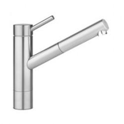 Kwc Inox keukenkraan uitloop 225 mm.en perlator uittrekbaar rvs 10.271.303.700