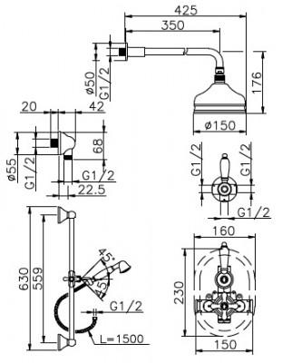 Huber Croisette Inbouw Thermostatische Doucheset Chroom/Goud 912CS01HCA