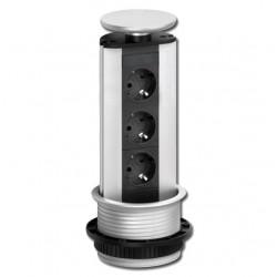 Evoline verzinkbare keuken stopcontact 3 voudig met witte deksel 008801