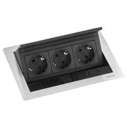 EVOline Fliptop 3 Verzinkbare contactdoos randaarde RVS