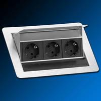 Stopcontact EVOline Fliptop contactdoos RVS met Belgische penaarde