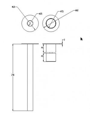 Waterevolution Lapa RVS inbouw wastafelmengkraan T716BIE technische tekening