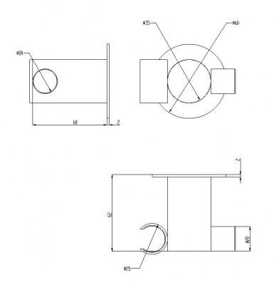Waterevolution Lapa RVS handdouchehouder T7623IE technische tekening