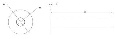 Waterevolution Lapa RVS baduitloop T7671IE technische tekening