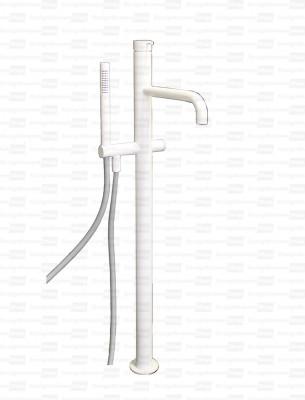 Waterevolution Flow vrijstaande badkraan met handdouche mat wit T133BR