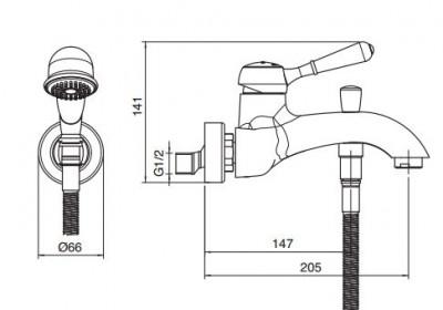 Zazzeri 900 badmengkraan met handdoucheset opbouw chroom 5100 1400 A00 tech