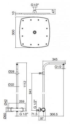 Zazzeri Tango thermostatische inbouwdoucheset met hoofddouche en handdouche chroom 1208679602