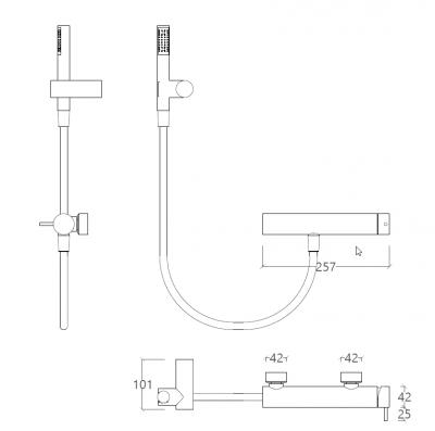 Waterevolution Flow douchemengkraan met douchegarnituur chroom T14001