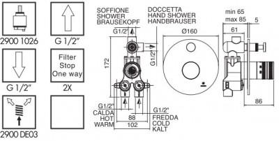 Zazzeri Pop 2- weg Inbouwthermostaat met omsteller Chroom  1208760732