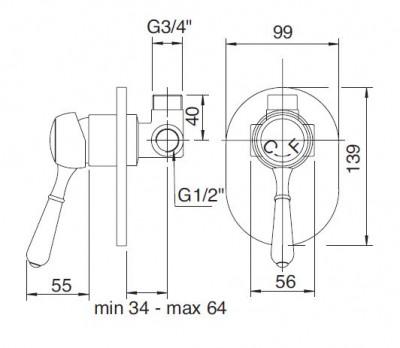 Zazzeri 900 inbouw stopkraan chroom 1208677912 tech