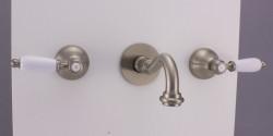PB klassieke kraan inbouw muurkraan met witte hendels 25 cm uitloop RVS 1208854402