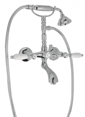 Klassieke kraan opbouw badkraanset met witte hendels RVS 1208854432