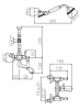 Klassieke kraan opbouw badkraanset met witte hendels Chroom met ophanghaakje 1208854442