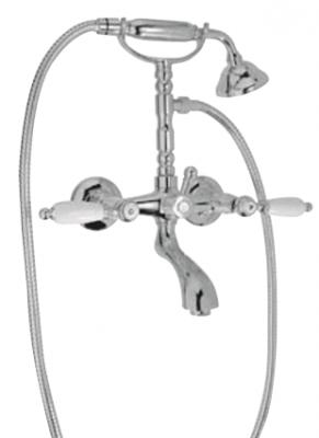 Klassieke kraan opbouw badkraanset met witte hendels RVS met ophanghaakje 1208854462