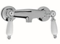 Klassieke kraan opbouw douchemengkraan met witte hendels Chroom 1208854502