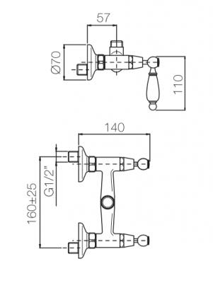 Klassieke kraan opbouw douchemengkraan met witte hendels Chroom 1208854532