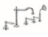 Klassieke 5-gats badrandkraan met witte hendel Brons 1208854792