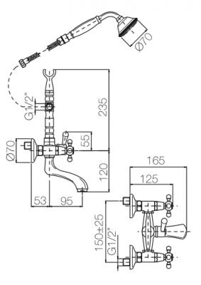 Klassieke kraan opbouw badkraanset met sterknoppen Chroom inclusief handdouche 1208855152