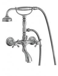 Klassieke kraan opbouw badkraanset met sterknoppen inclusief handdouche met ophanghaakje Brons 1208855192