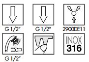Zazzeri Z316 inbouw douchemengkraan met omsteller en handdouche - compleet - RVS 1208856982