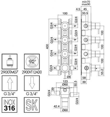 Zazzeri Z316 inbouw thermostaatkraan met 3 stopkranen volledig RVS 1208857092