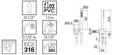 Zazzeri Z316 afbouwdeel handdoucheset zonder afdekplaat met watertoevoer voor glijstang RVS 3300Q417A00