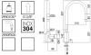 Zazzeri Z316 keukenmengkraan met uittrekbare handdouche en draaibare uitloop RVS 33001101A02ASAS