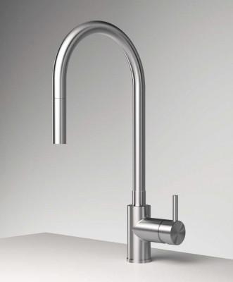 Zazzeri Z316 keukenmengkraan met uittrekbare handdouche en draaibare uitloop RVS 33001101A02