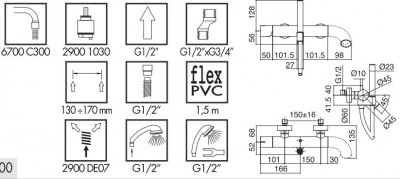 Zazzeri POP opbouw badmengkraan met handdouche Mat wit - silicone melk wit 2100A400A001072