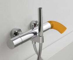 Zazzeri POP opbouw badmengkraan met handdouche RVS - silicone melk wit 2100A400A00AS72