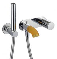 Zazzeri POP Inbouw badmengkraan incl handdouche Chroom - Silicone oranje 2100I401AA0CR42