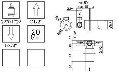 Zazzeri POP inbouwmengkraan met afdekplaat mat zwart 1208861022