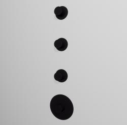 Zazzeri Pop 3 weg inbouwthermostaatkraan met 3 stopkranen Mat zwart 1208861072
