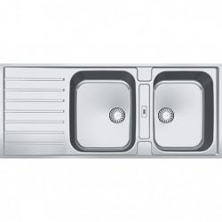 Franke Argos AGX 221 dubbele rvs spoelbak met afdruip vlakinbouw 116x51cm 1208862712