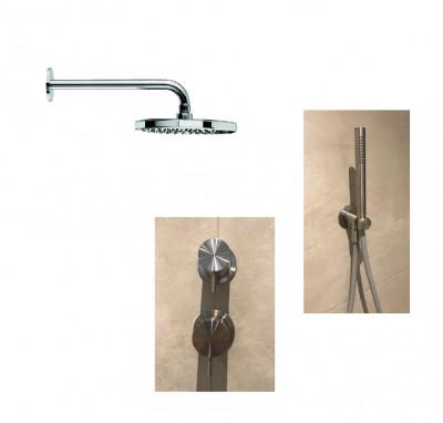 Waterevolution Flow inbouw doucheset met thermostaat regendouche en handdouche masisef RVS 1208889792