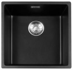 Lorreine Black Quartz spoelbak 40cm onderbouw zwart 40BQ