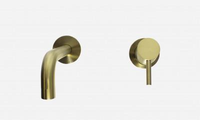 Rubio Inox inbouw wandmengkraan 250 volledig RVS in PVD kleur geborsteld goud 1208920731
