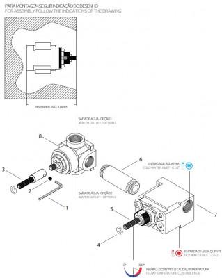 Waterevolution Flow inbouw douchethermostaat met 1 stopkraan mat zwart technische tekening