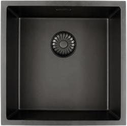 Caressi Black Line zwarte Quartz spoelbak 40cm vlakinbouw CAGRPP40BK-FL met zwarte korfplug 1208921303