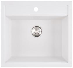 Caressi White Line wit Quartz spoelbak met kraangat 50cm opbouw CAGR50KRWH-TU 1208921344