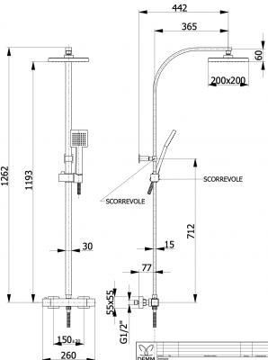 DEMM Shower douchecombinatie thermostaat met regendouche chroom 1208946966