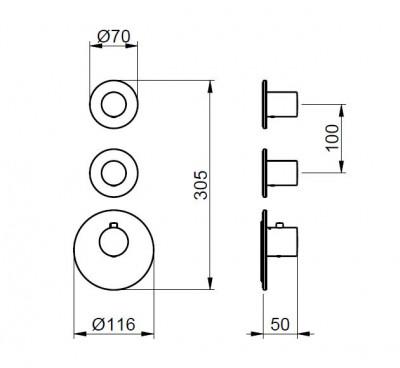 Rubio 316 Inbouw thermostaatkraan met 2 stopkranen 1208946972