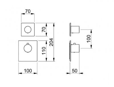 Rubio 316 High Flow Inbouw thermostaatkraan met 1 omstelkraan RVS 1208947020