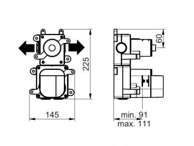 Rubio 316 Inbouw thermostaatkraan met 1 omstelkraan RVS 1208946974