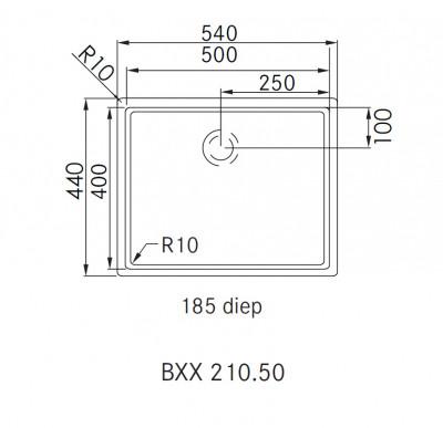 Franke Bolero Plus BXX 210.50 spoelbak vlakinbouw 1270352615 technische tekening