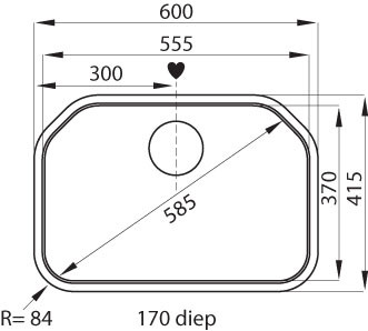 Franke spoelbak Delta DEX 610.600 opbouw 1010032997