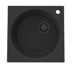 GraniteMy Dortmunt 48 granieten ronde spoelbak met vierkante kader zwart 1208947585